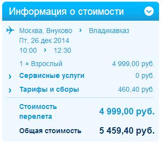 стоимость москва-владикавказ лоукостер победа