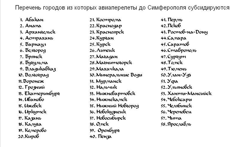 Список городов по субсидированным тарифам в Крым